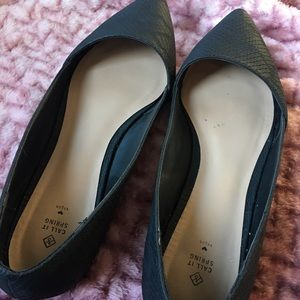 Call It Spring Shoes - Call It Spring Black Synthetic Lizard Flats